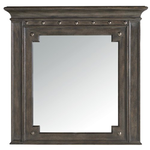 Hooker Furniture Vintage West Mirror with Molded Top and Decorative Nails