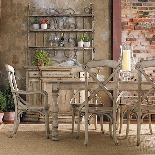 Hooker Furniture Wakefield Seven-Piece Rectangular Leg Table & X Back Dining Chairs Set