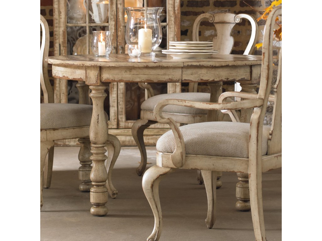 Kitchen table top view - Hooker Furniture Wakefield Round Leg Dining Table With Expandable Leaf Two Tone Distressed Finish Olinde S Furniture Dining Tables