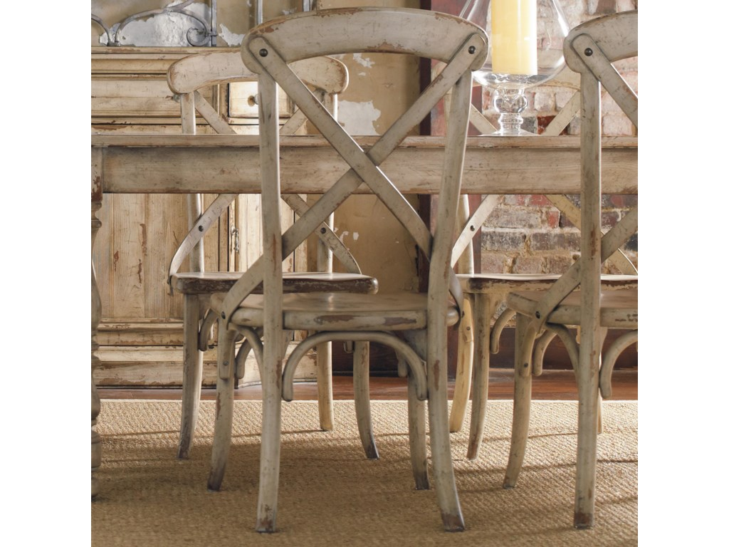 Wakefield X Back Distressed White Dining Side Chair By Furniture At Wayside