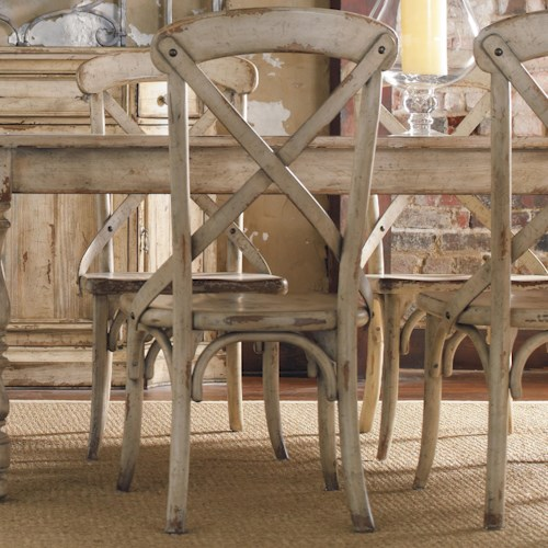Hooker Furniture Wakefield X Back Distressed White Dining Side Chair ...