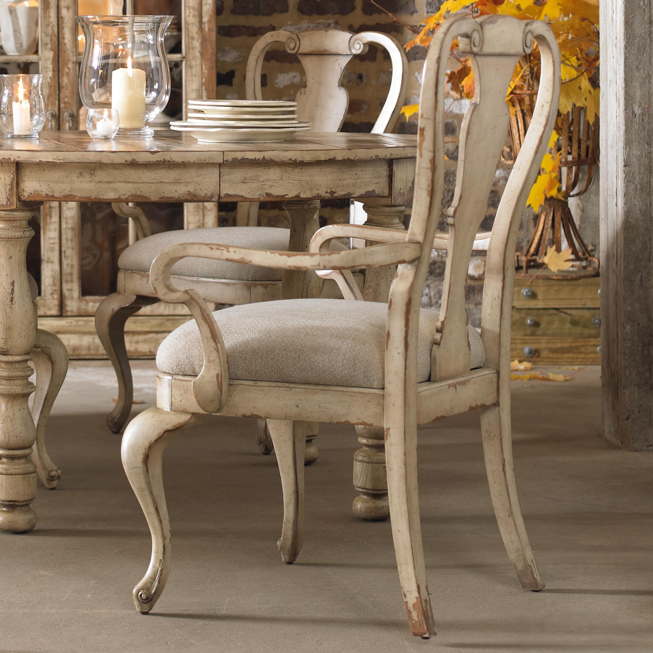 hamilton home wakefield distressed white splatback arm chair with