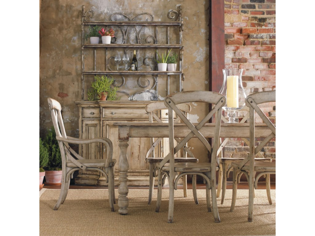 Shown with Metal Hutch, Rectangular Table, and X Back Arm and Side Chairs