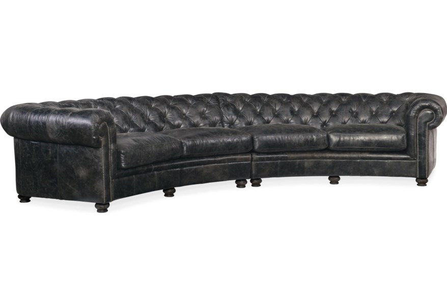 Weldon Leather Tufted Sectional Sofa in Black Leather by Hooker Furniture  at Dunk & Bright Furniture
