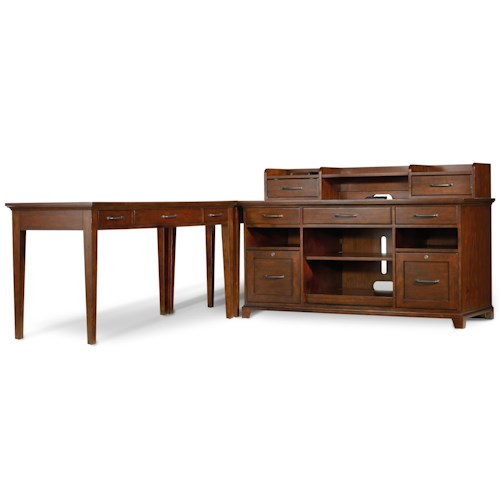 Hooker Furniture Wendover L-Shaped Desk Unit with Computer Credenza, Leg Desk and Smart Hutch with Charging Station