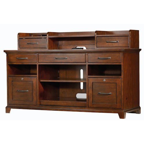 Hooker Furniture Wendover Computer Credenza and Smart Hutch Combo with Dropfront Keyboard Drawer, Pullout Printer Storage and 2 Locking File Drawers