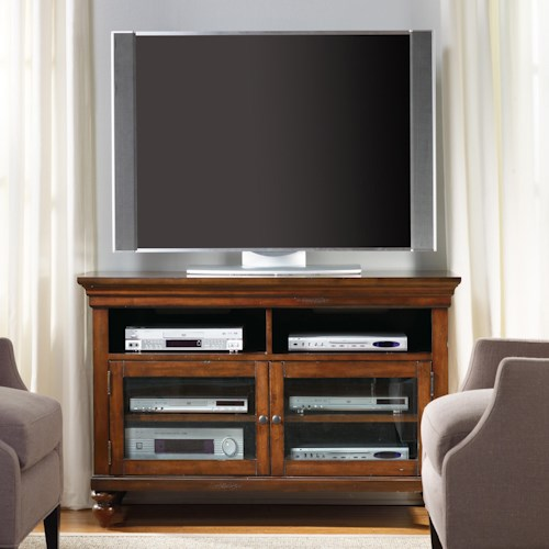 Hooker Furniture Wendover 44-Inch Entertainment Console with 2 Wood-Framed Glass Doors
