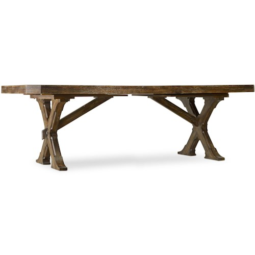 Hooker Furniture Willow Bend  Rectangle Trestle Table with Planked Top