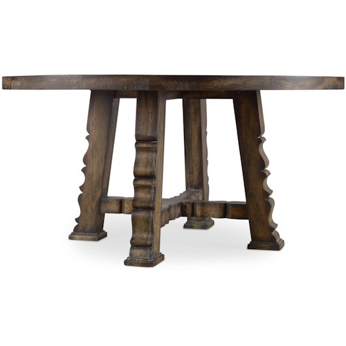 Hooker Furniture Willow Bend Round Dining Table with Carved Serpentine Detail