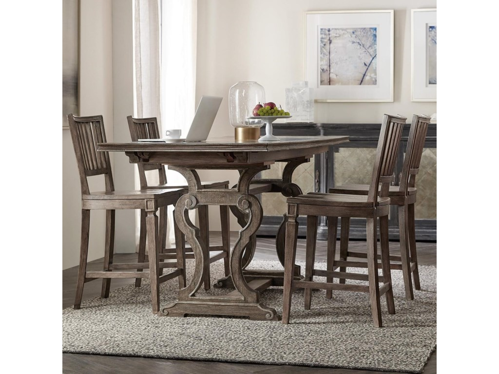 Hooker Furniture Woodlands5-Piece Counter Table and Chair Set