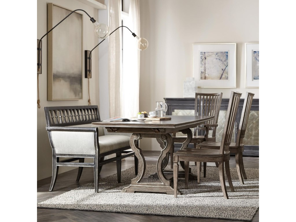 Hooker Furniture Woodlands5-Piece Table and Chair Set with Banquette