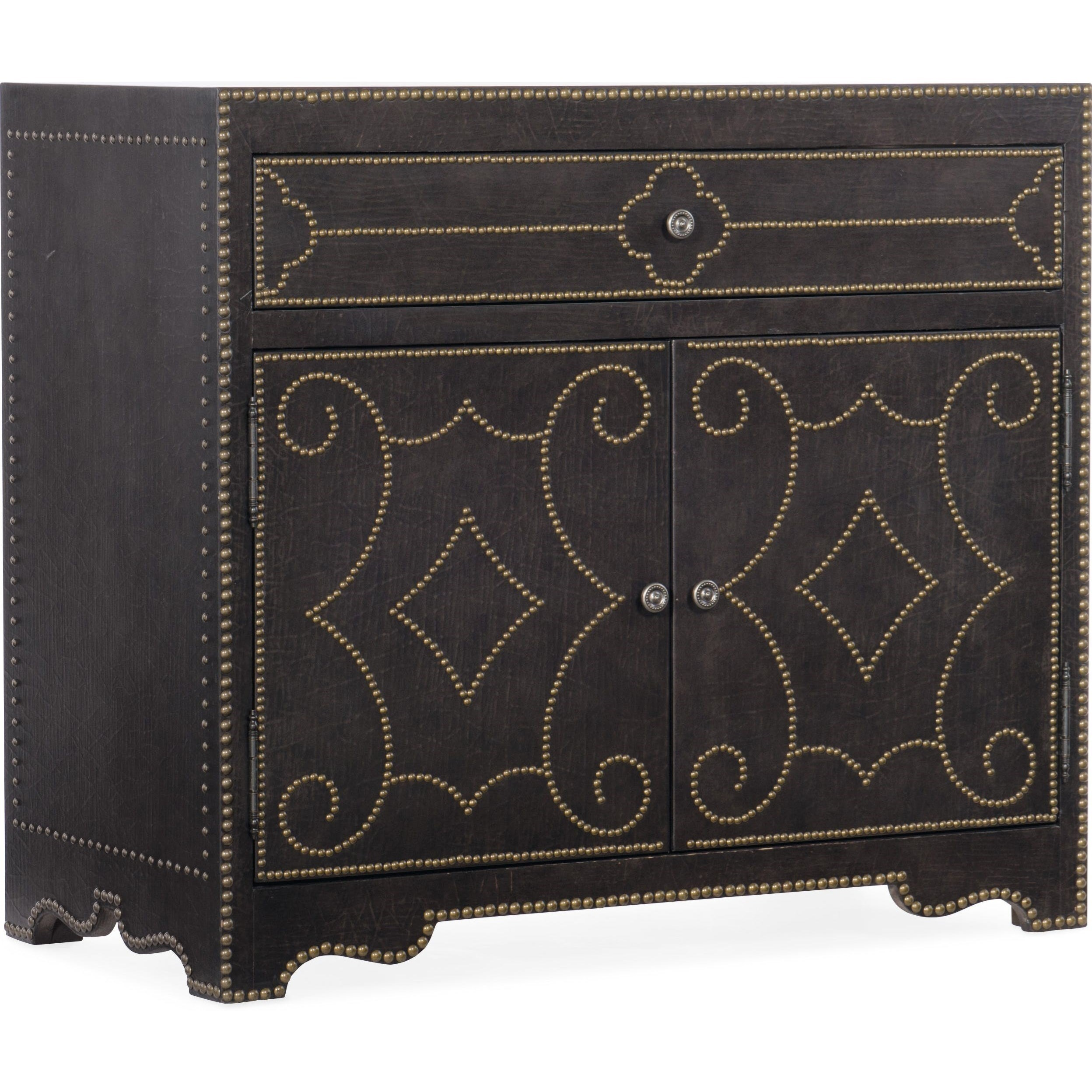 Traditional 2-Door and 1-Drawer Bachelors Chest with Built-in Lighting