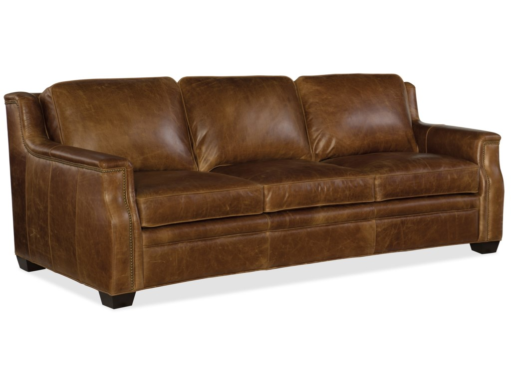 Yates Transitional Leather Sofa With Nailheads By Furniture