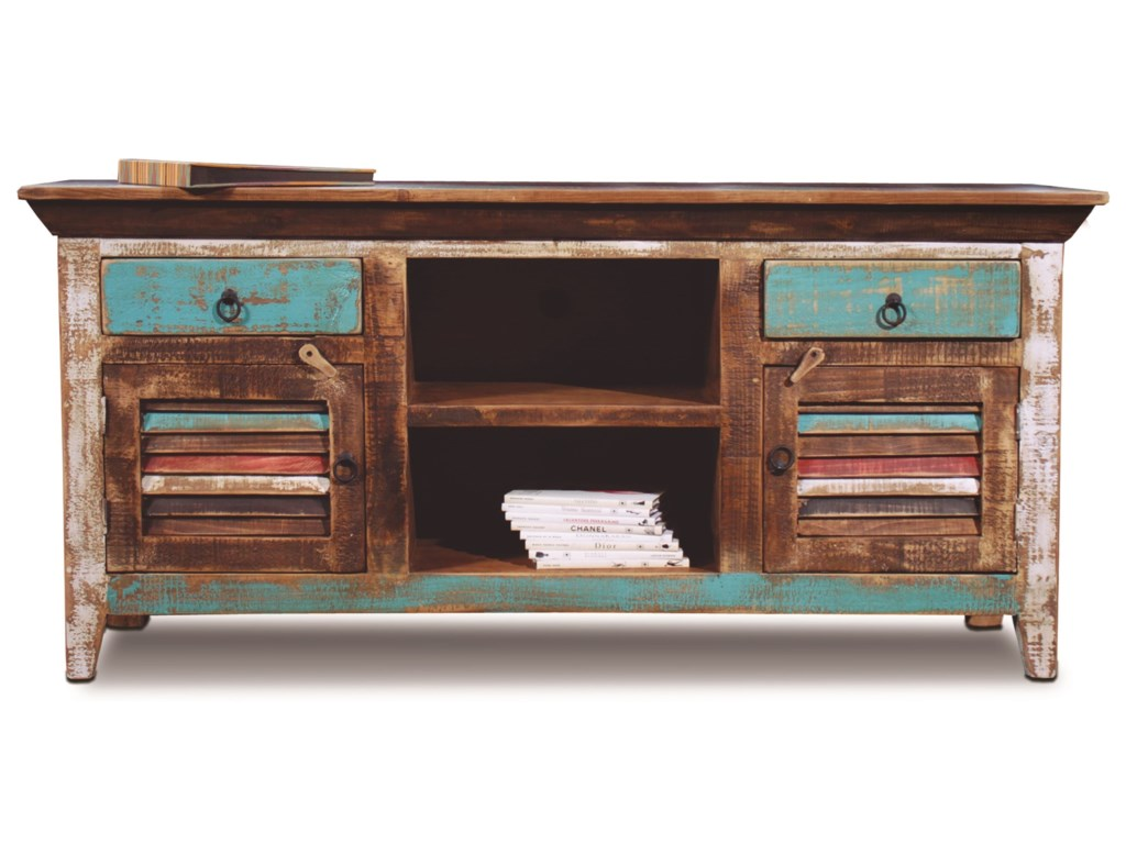 Horizon Home Ay Rustic Console With Louvered Doorulti Color Finish