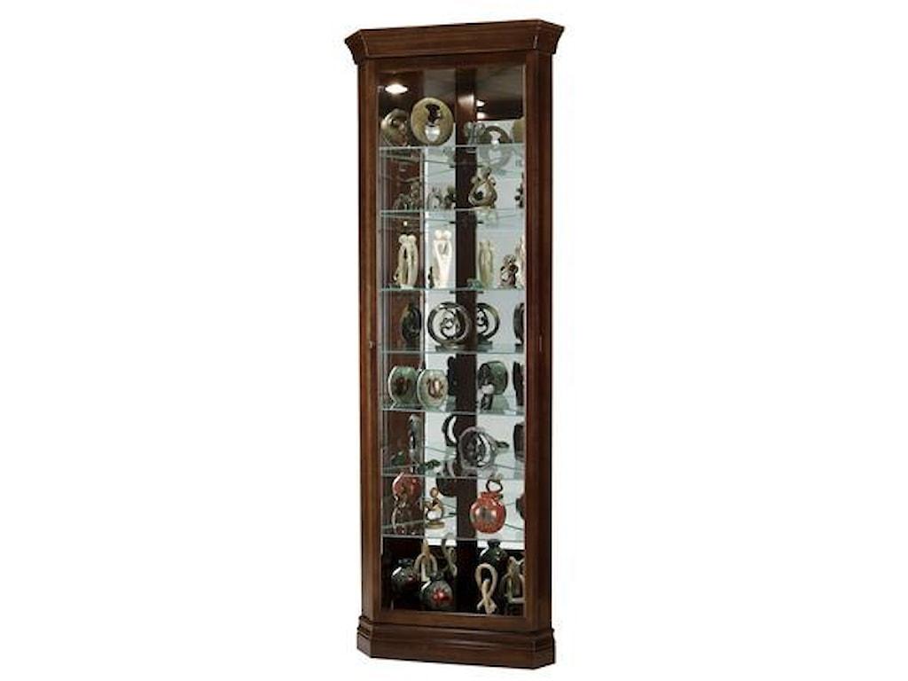 Morris Home Furnishings Gable -Gable Corner Curio Cabinet in Cherry