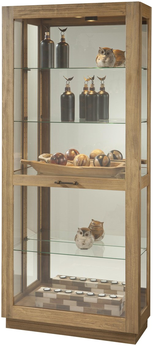 Howard Miller Cabinets Tall Marsh Bay Curio Cabinet with Adjustable Glass Shelves and Sliding Door