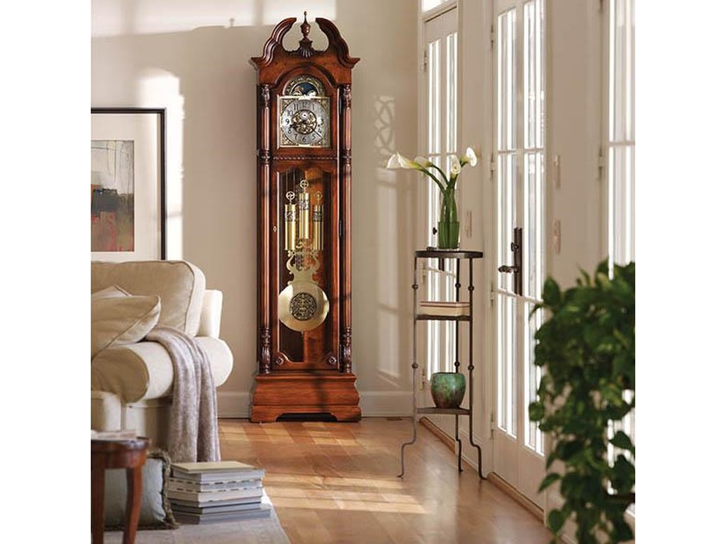 Howard Miller Clocks Ramsey Grandfather Clock With A Turned Urn Finial Wayside Furniture Grandfather Clocks