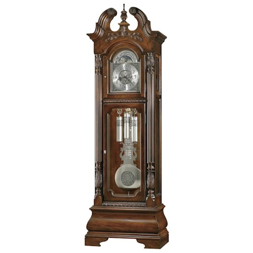 Howard Miller Clocks Stratford Grandfather Clock with Decorative Vine and Shell Overlay