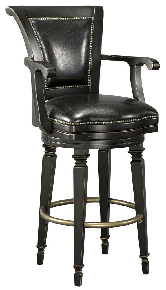 Howard Miller Northport Black Leather Bar Stool Wayside Furniture Bar Stools