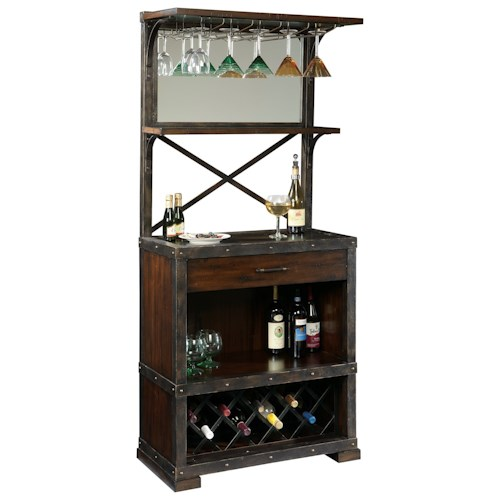 Howard Miller Wine & Bar Furnishings Red Mountain Wine Cabinet with Stemware Rack