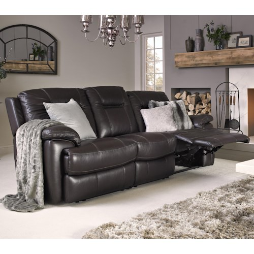 Warehouse M 10136 Contemporary Leather Match Power Sofa