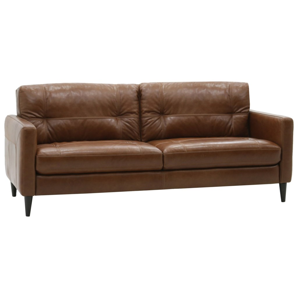 Belfort Select Gavin Mid Century Modern Sofa With Track Arms  ~ Leather Mid Century Modern Sofa
