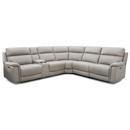 Warehouse M 11324 Contemporary Power Reclining Sectional w/ Power Headrests
