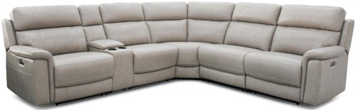 HTL 11324 Contemporary Power Reclining Sectional w/ Power Headrests
