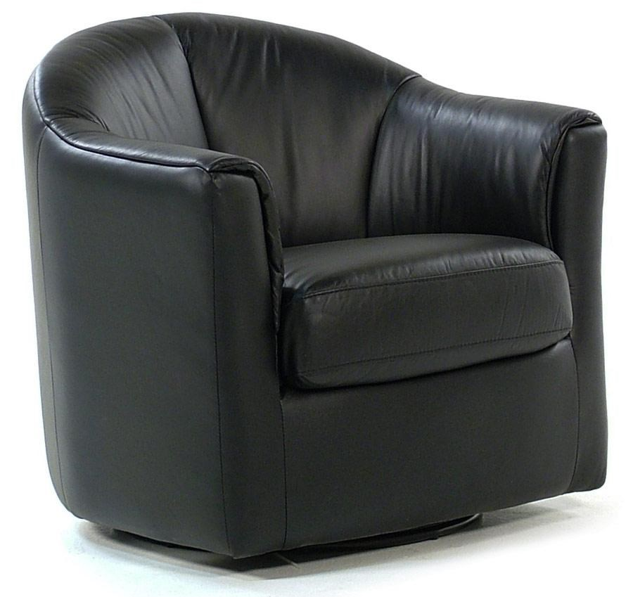 Giovani Swivel Chairs Leather Swivel Chair : Classic Black