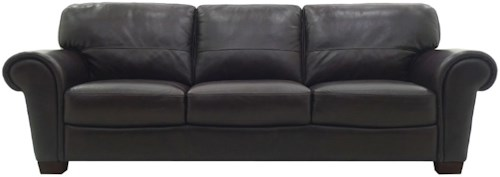 HTL 2274 Contemporary Leather Sofa with Flared Rolled Arms