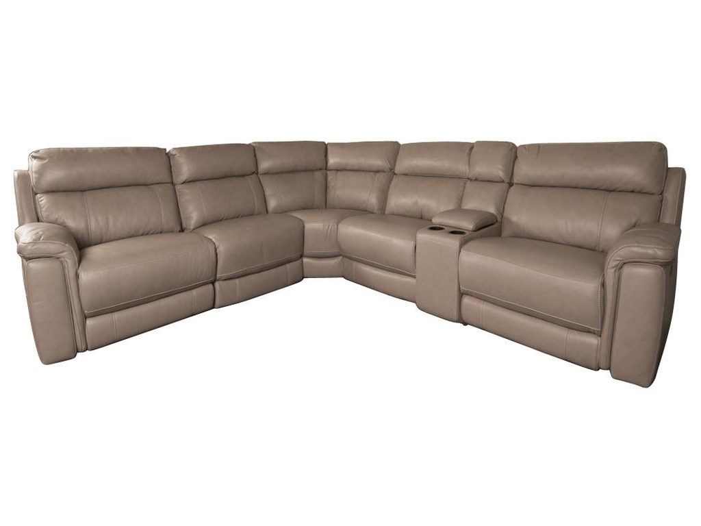 Houston Modern Leather Match Power Sectional Sofa with Power Headrest by  HTL at Morris Home