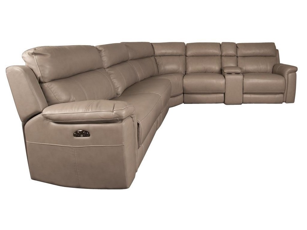 HTL HoustonHouston Leather Match Power Sectional Sofa