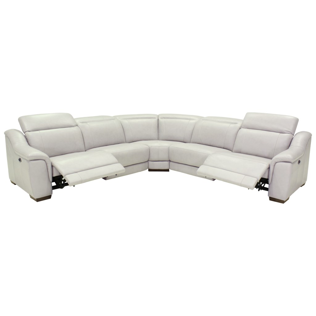 Htl 9557 contemporary power reclining 5 seat sectional