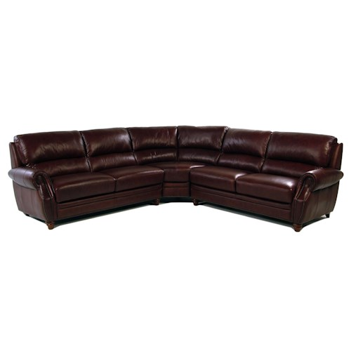 Giovani Barrister 3-Piece Traditional Style Leather Sectional