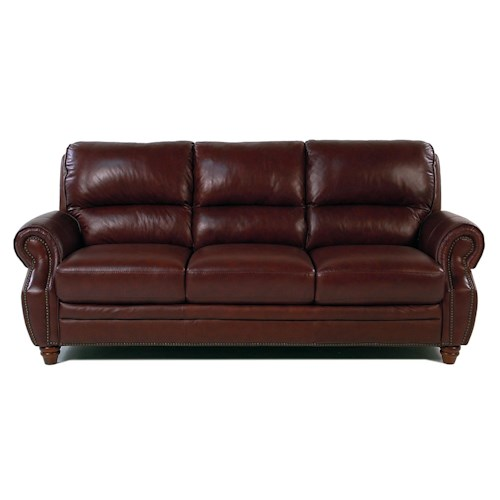 Giovani Barrister Traditional Leather Sofa w/ Nailhead Trim