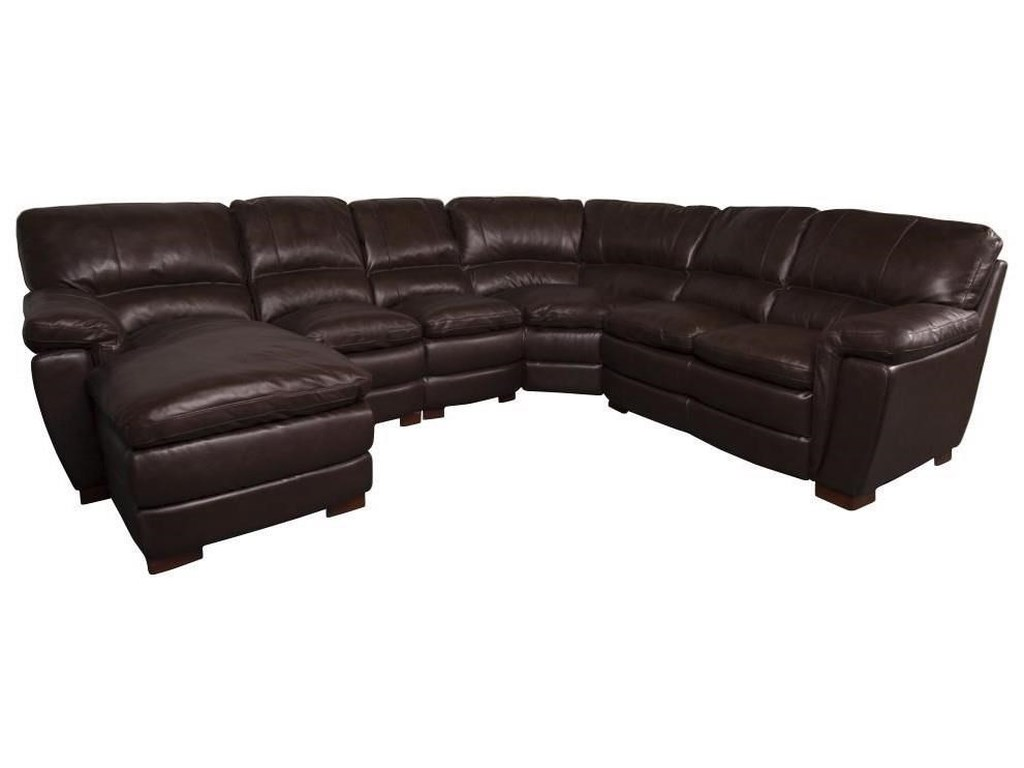 San Lorenzo Meritt Classic Leather Match Sectional Sofa | Morris ...