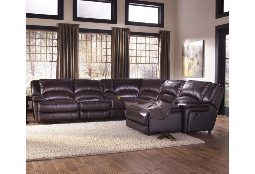 HTL T118 Casual Reclining Leather Sectional Sofa with Right ...
