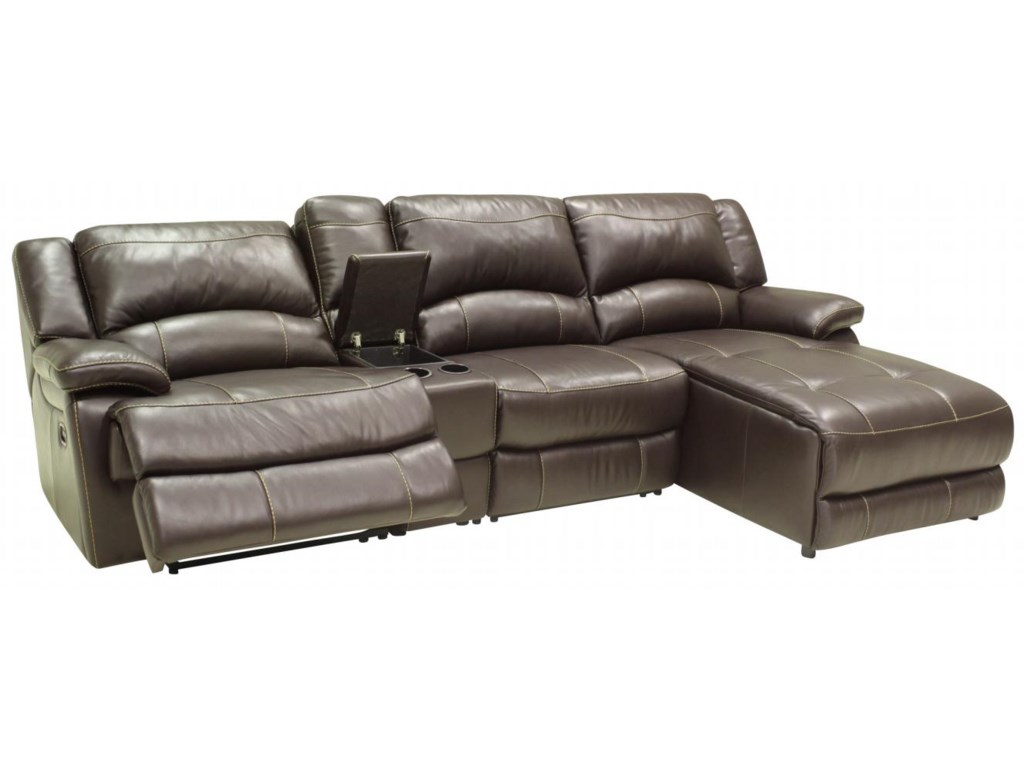 T118cs Small Sectional Sofa With Console And Right Side Chaise By Htl