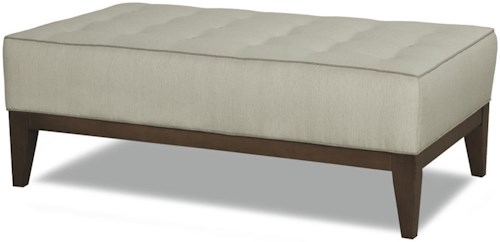 Geoffrey Alexander 2019 Ottoman with Tapered Leg and Wood Base