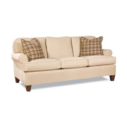 Huntington House 2041 Customizable Transitional Three-Seater Sofa with Rolled Arms and Tapered Block Legs
