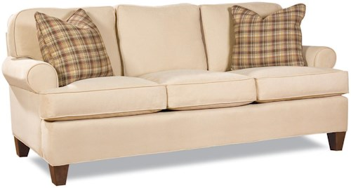 Geoffrey Alexander 2041 Customizable Transitional Three-Seater Sofa with Rolled Arms and Tapered Block Legs
