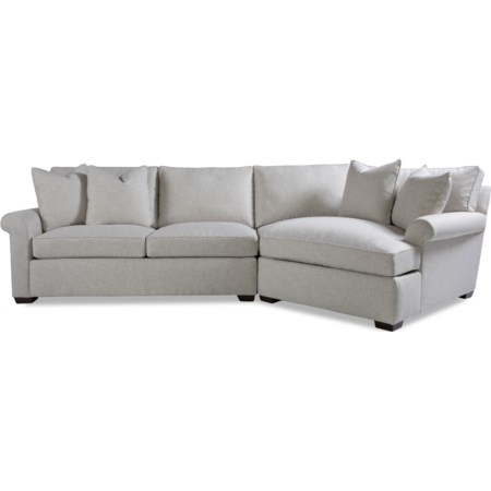 2 Pc Sectional Sofa w/ Roll Arm