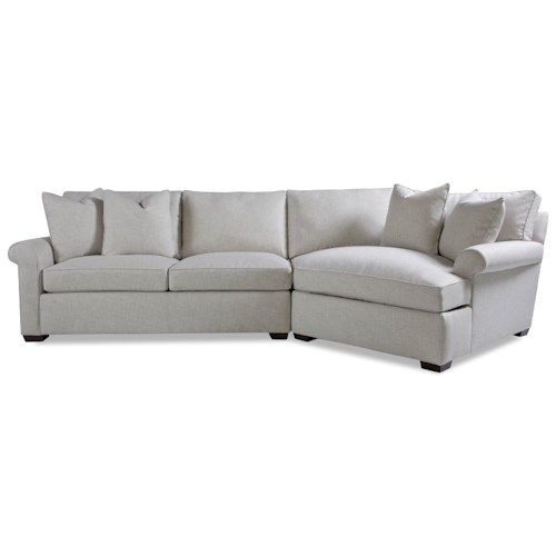 Huntington House Plush Two Piece Sectional Sofa with RAF Chaise and Rolled Arms