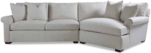 Geoffrey Alexander Plush Two Piece Sectional Sofa with RAF Chaise and Rolled Arms
