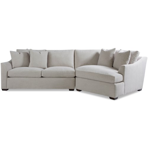 Huntington House Plush Two Piece Sectional Sofa with RAF Chaise and Flared Arms