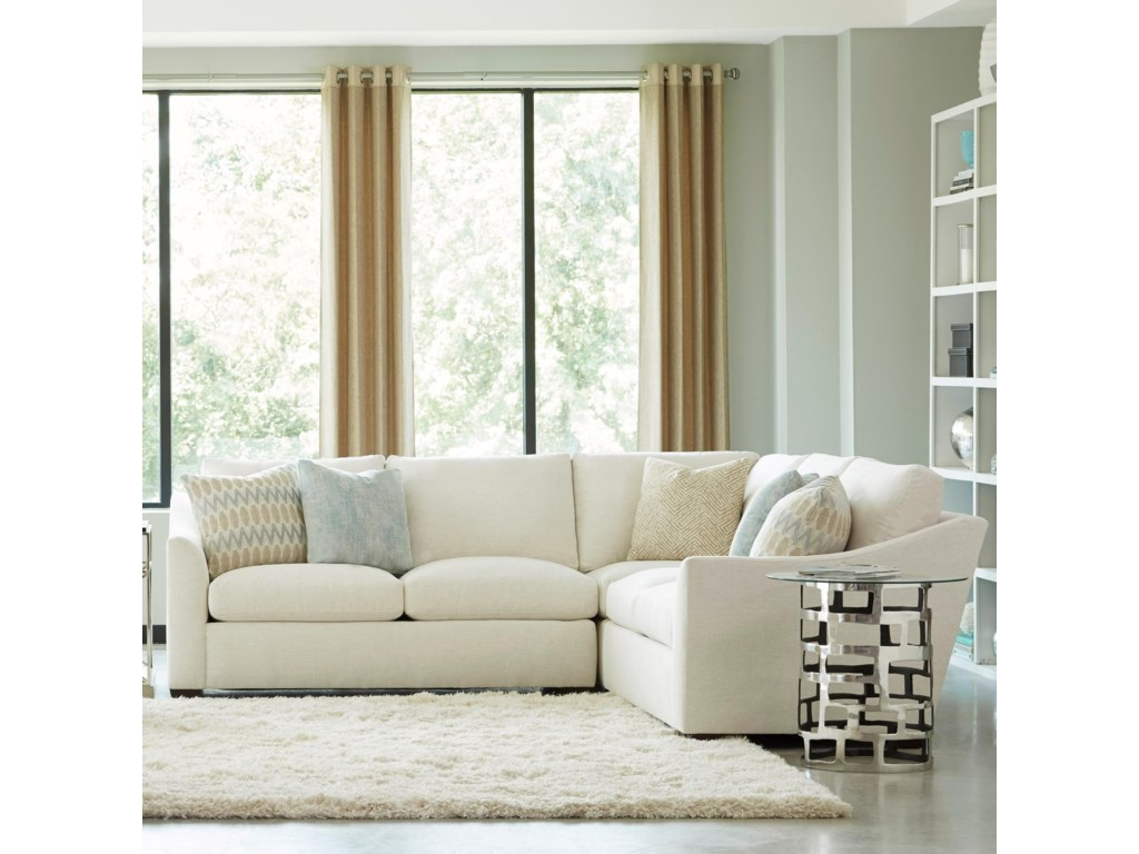 Huntington House Plush3 Pc Sectional w/ Flare Arms