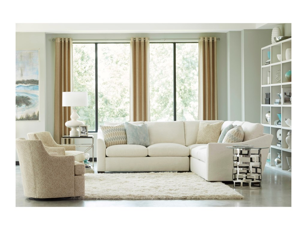 Geoffrey Alexander Plush3 Pc Sectional w/ Flare Arms
