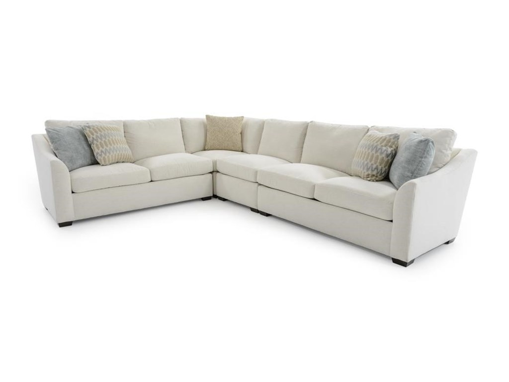 Plush Four Piece L-Shape Sectional Sofa with Flare Arms by Huntington House  at Baer\'s Furniture