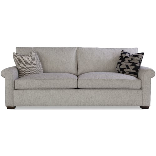 Geoffrey Alexander Plush Customizable Two Cushion Sofa with Rolled Arms