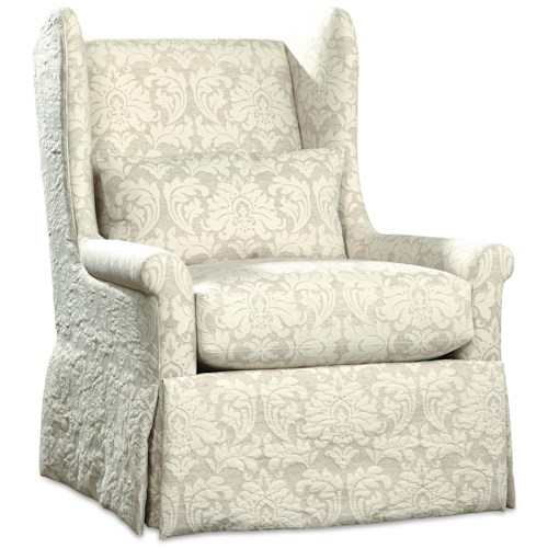 Huntington House 3335 Swivel Glider Chair with Skirted Base and Wing Back